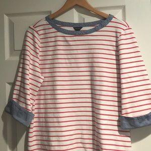 Nautica 3/4 sleeve white/red striped shirt